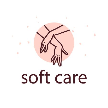 Vector hand skin care design concept with human lady hands illustration icon in hand drawn style isolated on light background. Hand cream emblem, moisturizer packaging badge, body care etc.