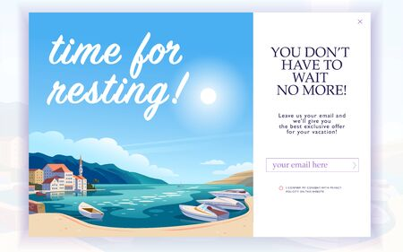 Vector squeeze page design template with beautiful flat europe harbour landscape illustration and email text box. Special offer season concept. For traveling firm and agency mailing, discount programs