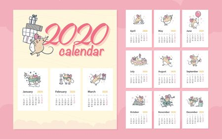 Vector 2020 new year creative monthly calendar for kids with cute funny mice animals characters hand drawn illustrations design template. Pastel colours cards. Desktop, print.