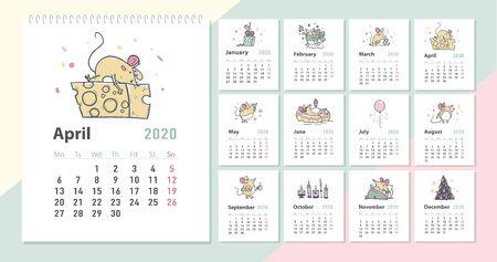 Calendrier mensuel créatif du nouvel an vecteur 2020 pour les enfants avec des personnages d'animaux de souris drôles mignons, modèle de conception d'illustrations dessinées à la main. Cartes de couleurs pastel. Bureau, impression.
