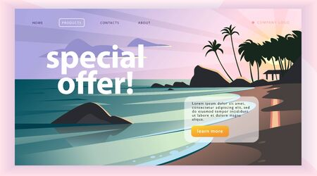 Vector landing page design template with beautiful flat sunset seacoast with palm tree landscape illustration. Special offer, vacation discount banner concept. For travel agency, touristic firm. 向量圖像