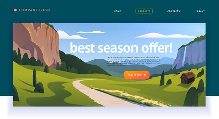 美しい平らな渓谷山脈村、ロードトリップ風景のイラストとベクターランディングページデザインテンプレート。特別オファー、バケーション割引