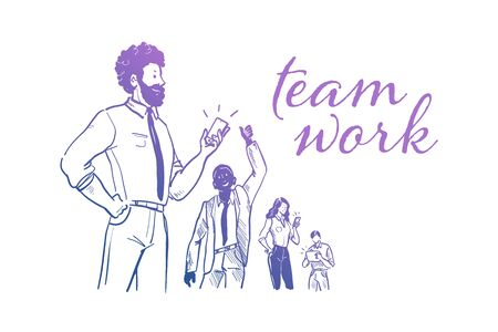 Business team work success concept. Office people, multiethnic group stand together celebrating. Collaboration and partnership. Mobile service. Hand drawn sketch style. Vector illustration.