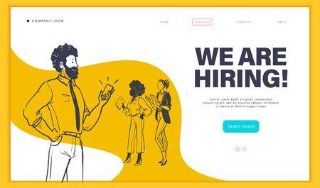 Modello di progettazione di pagine Web con uomini d'affari multirazziali isolati, concetto di occupazione e reclutamento. Stile doodle schizzo disegnato a mano. UI, UIX, app mobile. Illustrazione vettoriale.