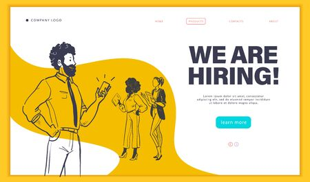 Web page design template with multiracial business people isolated,  employment and recruitment concept. Hand drawn sketch doodle style. UI, UIX, mobile app. Vector illustration.