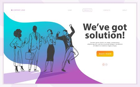 Landing page design template with Weve got solution business concept and hand drawn sketch office people team. Team work, partnership, success, creative ideas.