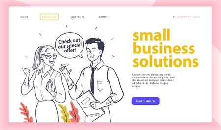 Web page design template with small business solution concept and happy office people isolated. Hand drawn sketch style. Landing page.