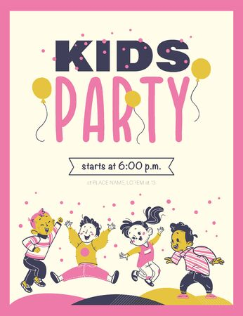 Kids party flayer template with happy little boys and girls characters. Text place, invitation design, card, banner, poster, voucher. Hand drawn style. Archivio Fotografico - 134211747