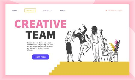 Creative team concept with multiracial office people group celebrating. Landing page design template, ui, mobile app. Hand drawn sketch style. Vector illustration.