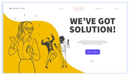 Landing page design template, ui, mobile app. Business solution, creative team work, partnership, recruitment concept. Hand drawn style. Multiracial office people group. Vector illustration. Stock fotó - 135047675