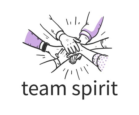 Team spirit concept with human hands holding together isolatex on white background. Team work, partnership, team building. Hand drawn sketch style. Vector illustration. Stock fotó - 135047566