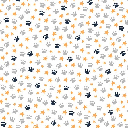Seamless pattern with animal paws trace and stars isolated on white background. Illusztráció
