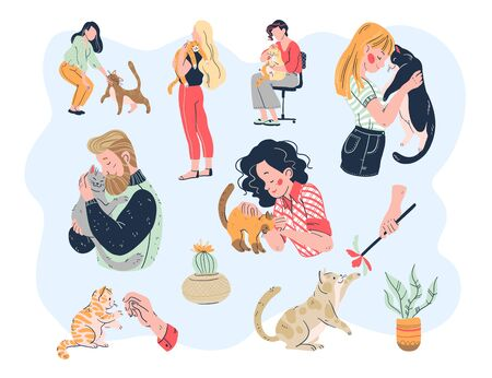 Cat lovers bundle. Casual people men and women with their lovely kitty pets friends: embracing, playing, taking care, tenderness. Hand drawn flat style. Illusztráció