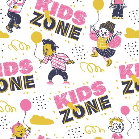 Seamless pattern design with hand drawn multiethnic happy kids smiling, jumping isolated. Kids zone banner decor, backdrop, packaging paper, party card etc.