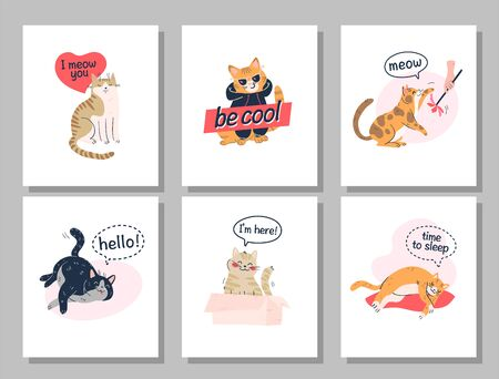 Collection of print cards with funny cats playing, hiding in box, sleeping and text message isolated on white background. Flat cartoon style. Vector illustration.