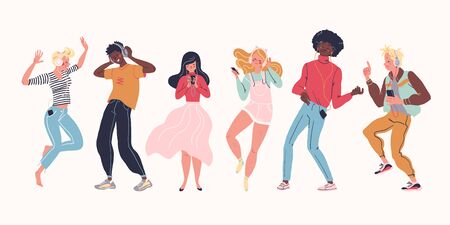 Young stylish people listening to music in headphones and earphones isolated. Multiethnic group. Boys and girls smiling, dancing, jogging, walking. Flat cartoon style.