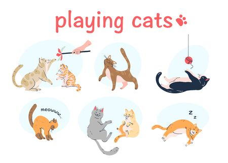 Cute cats playing with each other, toy, thread ball, meowing, sleeping isolated on white background. hand drawn cartoon style. Illusztráció