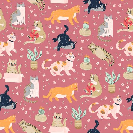 Seamless pattern with cute funny cats different breed isolated on pink background sitting, laying, hiding in box. Flat cartoon style. Stock fotó - 134211752