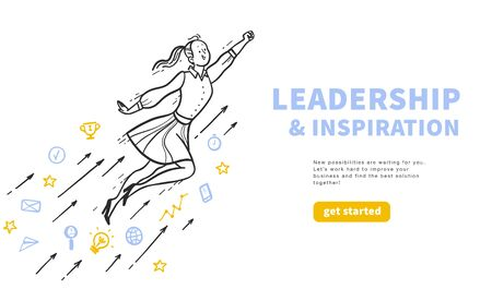Leadership and inspiration concept with happy business girl flying upwards isolated on white background. Business line icons. Stock fotó - 134211755