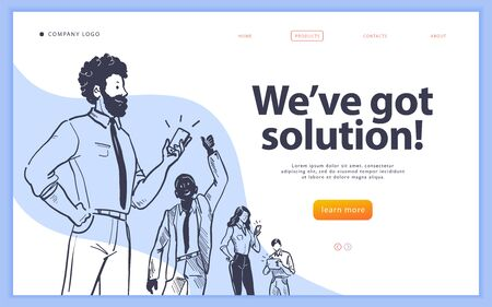 Landing page design template, ui, mobile app. Business solution, creative team work, partnership, recruitment concept. Hand drawn style. Multiracial office people group.