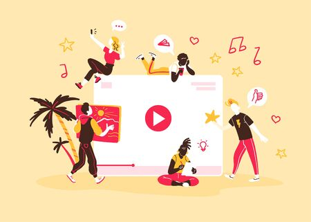Concept for people generating and watching different internet content types. Bloggers, copywriters, designers  freelancers making online video, photo and other projects. Illusztráció