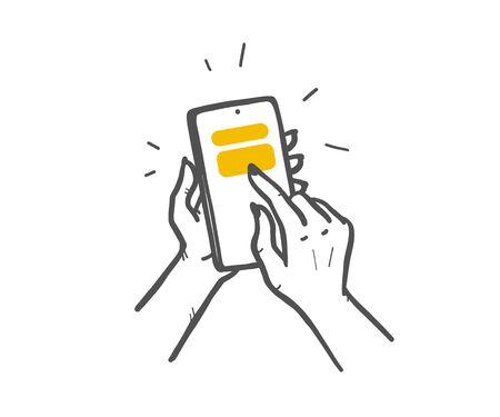 Woman hands holding smartphone. Using mobile  service concept. Hand drawn sketch style. Online sale, order online. Illusztráció