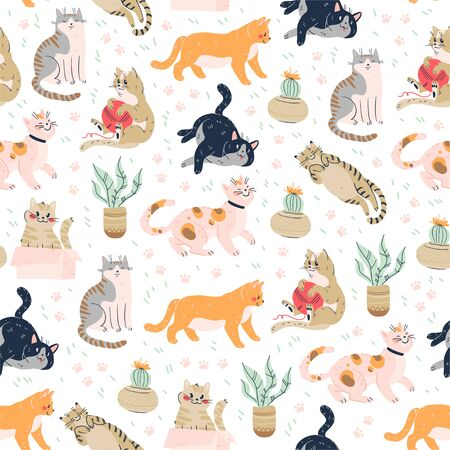 Seamless pattern with cute funny cats different breed isolated on pink background sitting, laying, hiding in box. Flat cartoon style.
