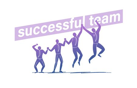 Successful team concept with group of office people hold hand and jumping celebrating isolated on white background. Stock fotó - 134328204