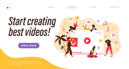 Landing page design template. Creative team generating video content. Making best videos concept. Bloggers, copywriters, designers, photographers, freelancers working. Stock fotó - 134328203