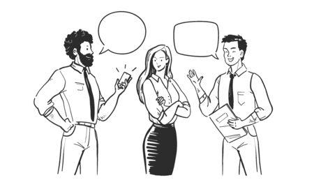 Gens d'affaires parlant, équipe de bureau discutant du projet, travail d'équipe, réunion, concept de remue-méninges. Hommes et femmes avec des bulles isolées sur fond blanc.