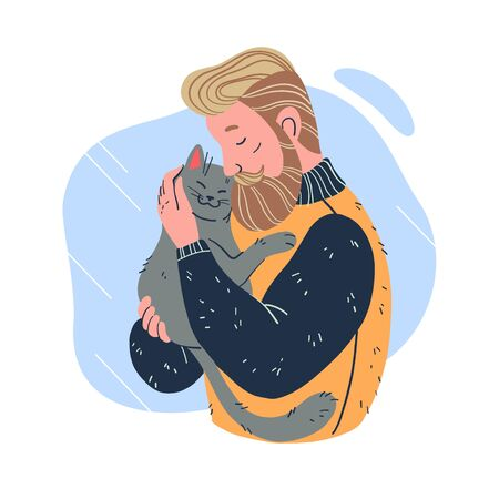 Portrait of man with beard in sweater embracing his cute fluffy cat isolated on white background. Cat lover concept. Hand drawn flat cartoon style. Illusztráció