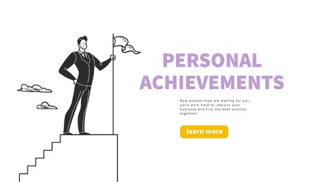 Business concept with office worker standing on top of stairs with flag - metaphor for personal achievements, career. Hand drawn style. Illusztráció