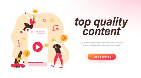 Top quality content concept, landing page design template with mobile phone and people creating different types of digital content isolated. Freelance and blogging. Illustration