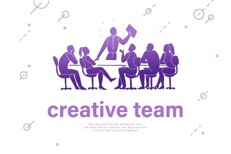Creative team concept. Team work, project management, team building, planning, meeting. Office people silhouette group at table isolated on white background. Stock fotó - 134328210