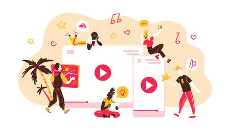 Concept for people generating and watching different internet content types. Bloggers, copywriters, designers  freelancers making online video, photo and other projects. Vector flat illustration. Stock fotó - 135614510