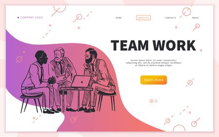 Landing page design template with business team discussing and brainstorming at laptop. Coworker office, creative projects. Hand drawn sketch style. Mobile app, ui, banner. Vector illustration. Illusztráció