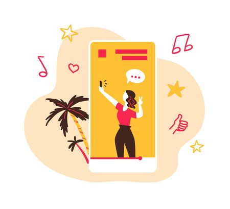Making inspiring video content, media planning, blogging, broadcast concept. Young girl blogger streaming on smartphone screen. Creative ideas. Social networks promotion. Vector flat illustration.