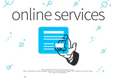 Online services concept. Human hand and dialogue window sioalted on white background. Hand drawn sketch style. Order online. Vector illustration.