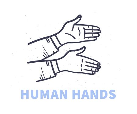 Human hands greeting, pointing isolated on white background. Hand drawn sketch style. Vector illustration.