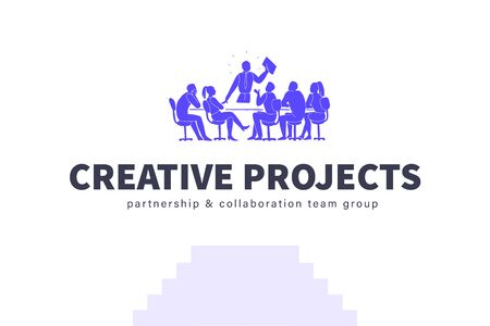 Creative team concept. Team work, project management, team building, planning, meeting. Office people silhouette group at table isolated on white background. Vector illustration, logo, emblem.