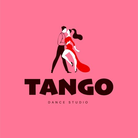 Tango dance studio, lessons and workshop logo, emblem design template with dancing man and woman couple. Flat style, vector illustration.