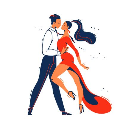 Man and woman tango dancers from side view standing together isolated on white background. Flat cartoon style. Dancing couple characters, dance passion concept. Vector illustration.