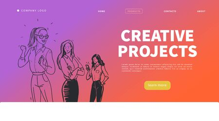 Creative projects landing page design template with office woman group. Business lady, feminism concept. Website banner, mobile app, ui. Hand drawn sketch style. Vector illustration.