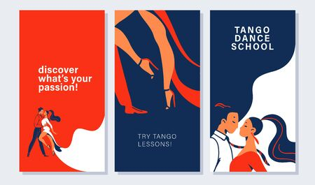 Collection of banners and cards with tango dancers pair in flat minimalistic style. Advertising for dance studio, tango lessons, workshop. Vector illustration.