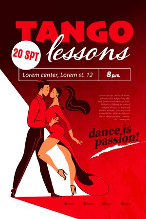 Tango lessons poster  placard advertisement design with dancing pair and text place. Red color, flat style. Dance school banner. Vector illustration.