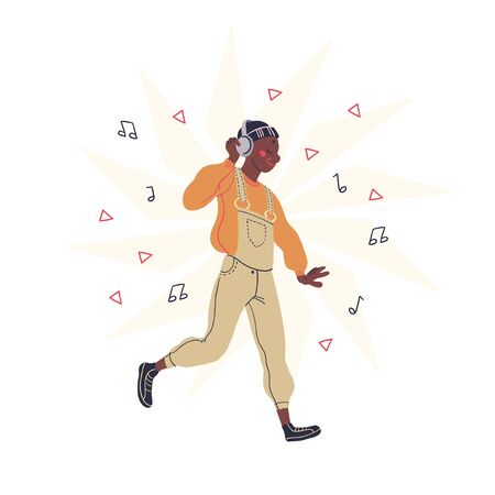 Young teenager listening to music in his headphones dancing isolated on white background. African ethnicity street dancer. Vector illustration.
