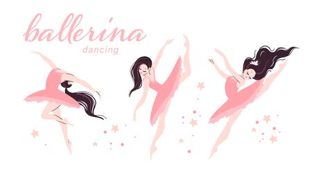 Flat beautiful ballerina dancer character in pink tutu dress doing different ballet dancing poses isolated on white background. Flat style, pastel color. Vector illustration. Illusztráció