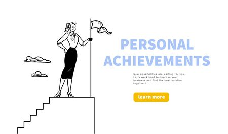 Business concept with office woman worker standing on stairs top with flag: metaphor for personal achievements, career. Hand drawn style. Web banner, webpage design template, ui. Vector illustration. Illusztráció