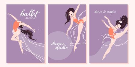 Set of beautiful cards with cartoon ballerina dancer characters in different poses isolated on light background. Ballet dance school banner, poster, print. Vector illustration.