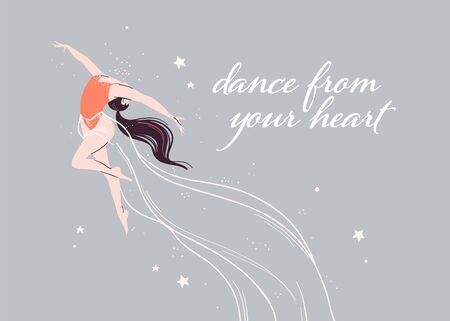 Beautiful magic banner with dancing ballerina girl isolated on light background. Flat cartoon style, pastel colors. For ballet learning, dance school, fairy party poster, card. Vector illustration. Illusztráció